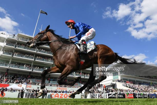 Adam Kirby on Adayar wins the Derby on the second day of the Epsom Derby Festival horse racing event at Epsom Downs Racecourse in Surrey, southern...