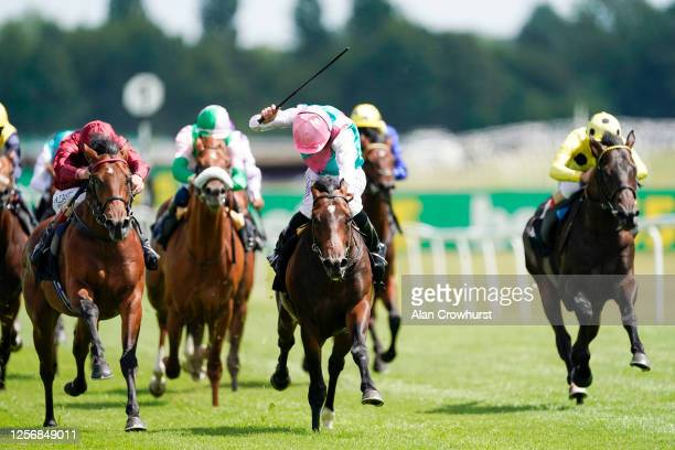 Adam Kirby riding Guru win The bet365 EBF Novice Stakes at Newbury Racecourse on July 18 2020 in Newbury England Owners are allowed to attend if they...