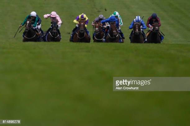 Adam Kirby riding Harry Angel win The Darley July Cup Stakes at Newmarket racecourse on July 15 2017 in Newmarket England