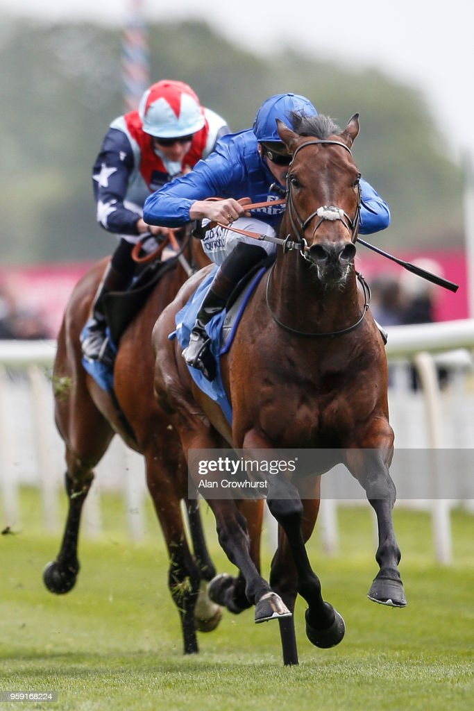Adam Kirby riding Harry Angel (R) win The Duke of York Clipper Logistics Stakes at York Racecourse on May 16, 2018 in York, United Kingdom.