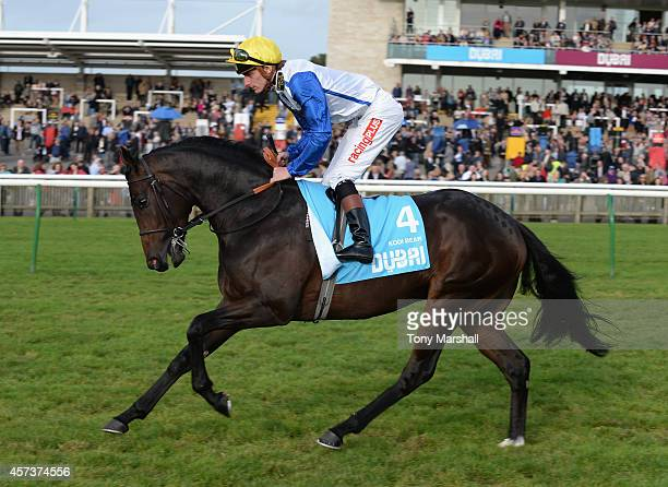 Adam Kirby riding Kodi Bear in the Dubai Dewhurst Stakes during The Future Champions Day racing at Newmarket Racecourse on October 17 2014 in...