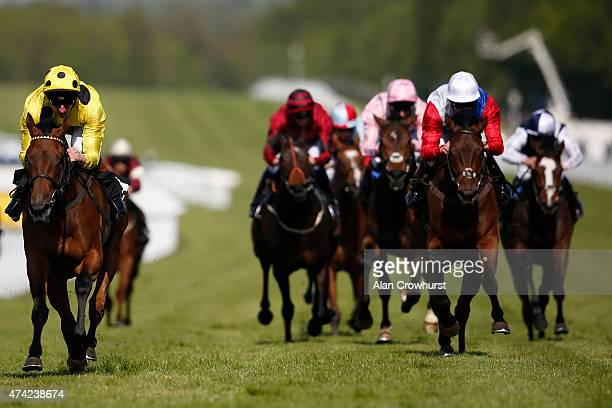 Adam Kirby riding Lady Of Dubai win The Bibendum Height Of Fashion Stakes at Goodwood racecourse on May 21 2015 in Chichester England