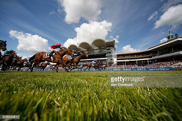 Adam Kirby riding Profitable win The Pearl Bloodstock Palace House Stakes at Newmarket racecourse on April 30 2016 in Newmarket England