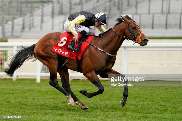 Adam Kirby riding River Nymph win The tote+ Victoria Cup at Ascot Racecourse on May 08, 2021 in Ascot, England. Only owners are allowed to attend the...