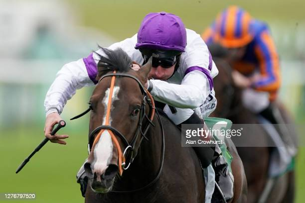 Adam Kirby riding Supremacy win The Juddmonte Middle Park Stakes at Newmarket Racecourse on September 26, 2020 in Newmarket, England. Owners are...