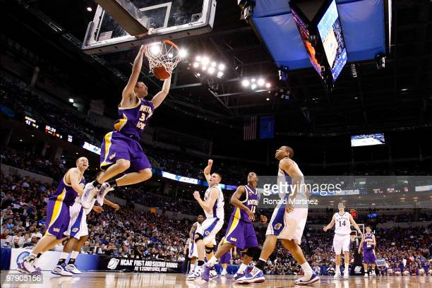Adam Koch of the Northern Iowa Panthers dunks against the Kansas Jayhawks during the second round of the 2010 NCAA men's basketball tournament at...