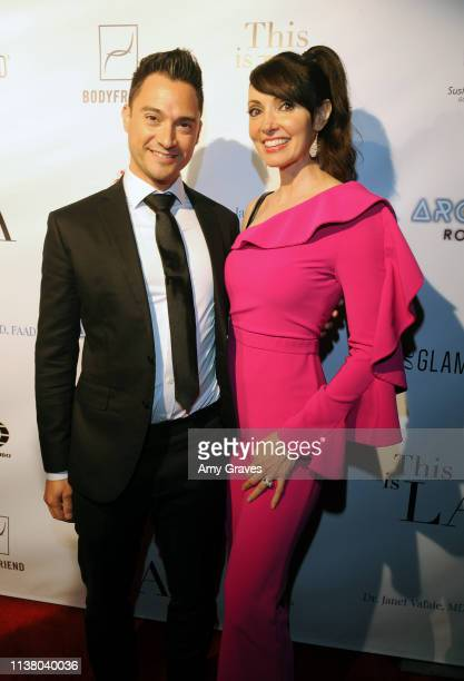 Adam Kruger and Cherise Bangs attend the 'This is LA' Season 3 Premiere Party at Yamashiro Hollywood on April 18 2019 in Los Angeles California