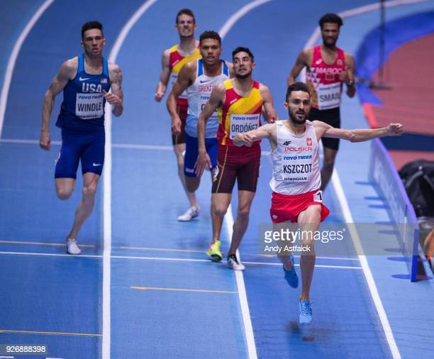 Adam Kszczot from Poland celebrates as he crosses the finish line during Men's 800m Final on Day 3 of the IAAF World Indoor Championships at Arena...