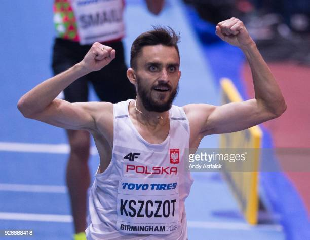 Adam Kszczot from Poland celebrates winning the Men's 800m Final on Day 3 of the IAAF World Indoor Championships at Arena Birmingham on March 3 2018...
