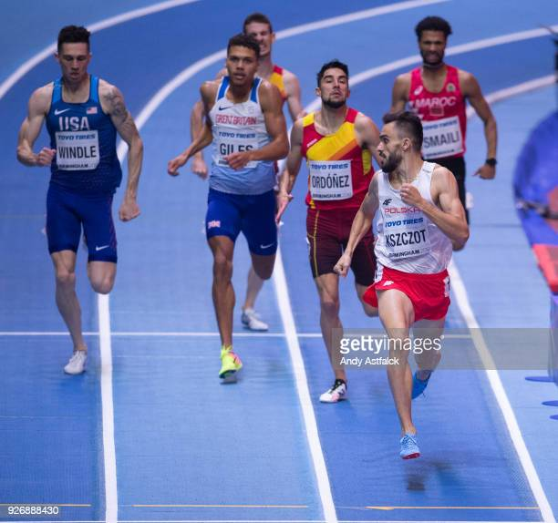Adam Kszczot from Poland checks over his shoulder on his way to winning the Men's 800m Final on Day 3 of the IAAF World Indoor Championships at Arena...