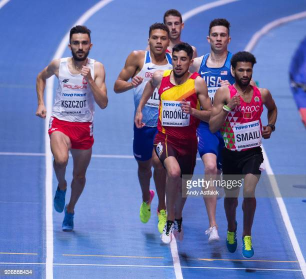 Adam Kszczot from Poland Saul Ordonez of Spain and Mostafa Smaili of Morocco during the Men's 800m Final on Day 3 of the IAAF World Indoor...