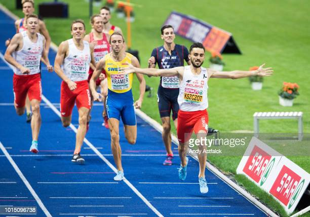 Adam Kszczot from Poland wins the Men's 800m Final behind him is Andreas Kramer from Sweden and Pierre-Ambroise Bosse from France on Day 5 of the...