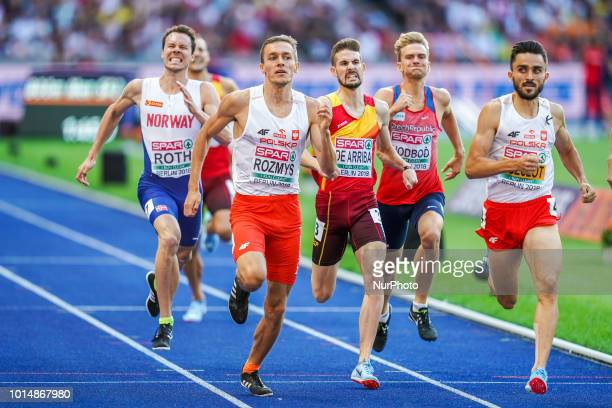 Adam Kszczot of  Poland and Rozmys of  Poland ending up as number one and two in the 800 meter semifinal for men at the Olympic Stadium in Berlin at...