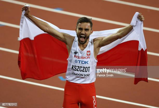 Adam Kszczot of Poland celebrates after winning silver in the Men's 800 metres final during day five of the 16th IAAF World Athletics Championships...