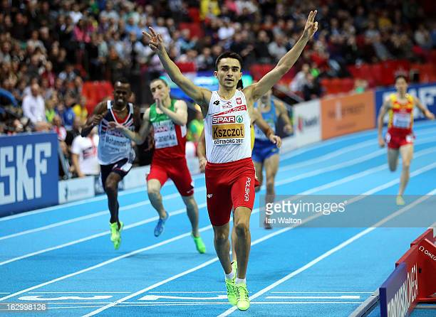Adam Kszczot of Poland crosses the line to win gold in the Men's 800m Final during day three of European Indoor Athletics at Scandinavium on March 3...