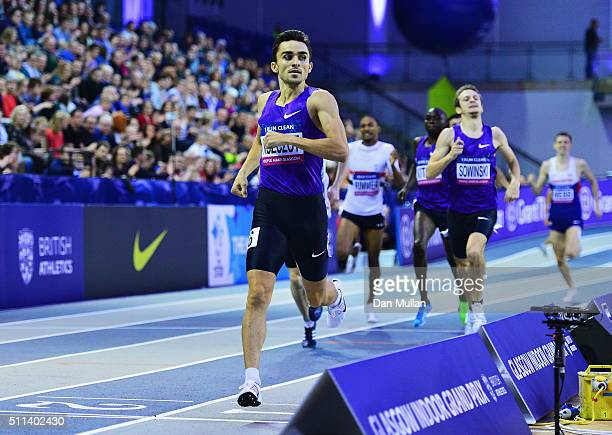 Adam Kszczot of Poland crosses the line to win the Men's 800 metres final during the Glasgow Indoor Grand Prix at Emirates Arena on February 20 2016...