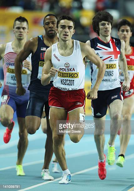 Adam Kszczot of Poland lkeads the field in the Men's 800 Metres semi final during day two of the 14th IAAF World Indoor Championships at the Atakoy...