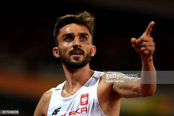 Adam Kszczot of Poland reacts after the Men's 800 Metres semi finals during day three of the 16th IAAF World Athletics Championships London 2017 at...