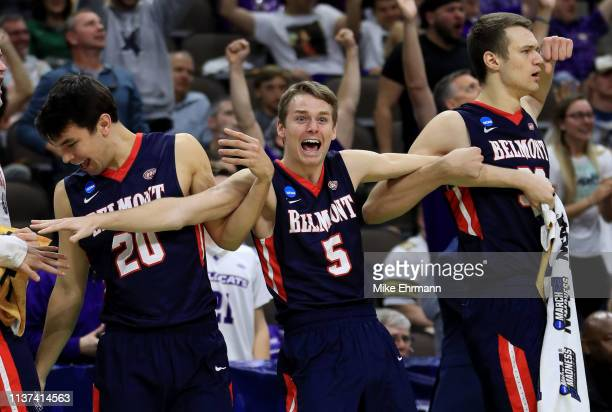Adam Kunkel of the Belmont Bruins reacts on the bench in the second half of play against the Maryland Terrapins during the first round of the 2019...