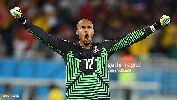 Adam Kwarasey of Ghana celebrates his team's first goal during the 2014 FIFA World Cup Brazil Group G match between Ghana and the United States at...