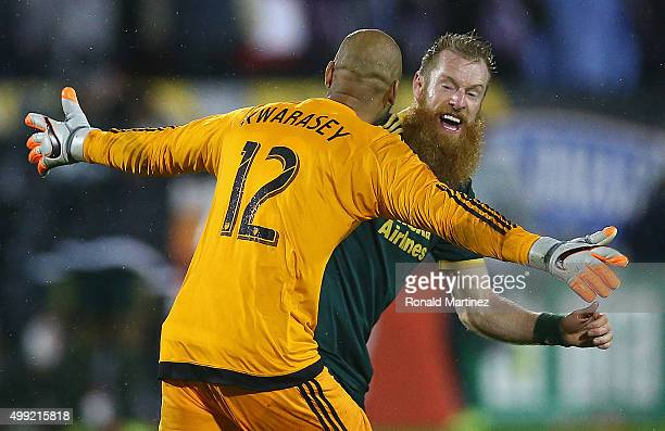 Adam Kwarasey of Portland Timbers and Nat Borchers celebrate a goal during the Western Conference FinalsLeg 2 of the MLS playoffs at Toyota Stadium...