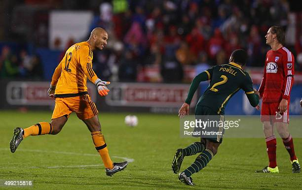 Adam Kwarasey of Portland Timbers celebrates a goal during the Western Conference FinalsLeg 2 of the MLS playoffs at Toyota Stadium on November 29...