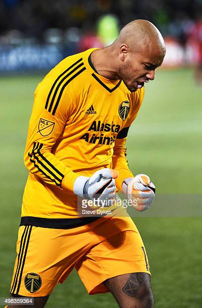 Adam Kwarasey of Portland Timbers celebrates after one of his teammates scored a goal during the second half of the match against the FC Dallas at...