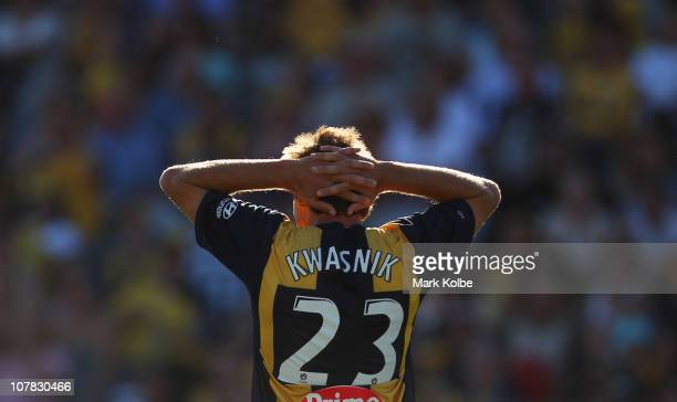 Adam Kwasnik of the Mariners reacts after a missed shot on goal during the round 21 ALeague match between the Central Coast Mariners and the...