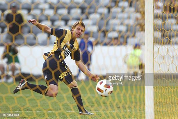 Adam Kwasnik of the Mariners scores a goal during the round 15 A-League match between the Central Coast Mariners and Gold Coast United at Bluetongue...