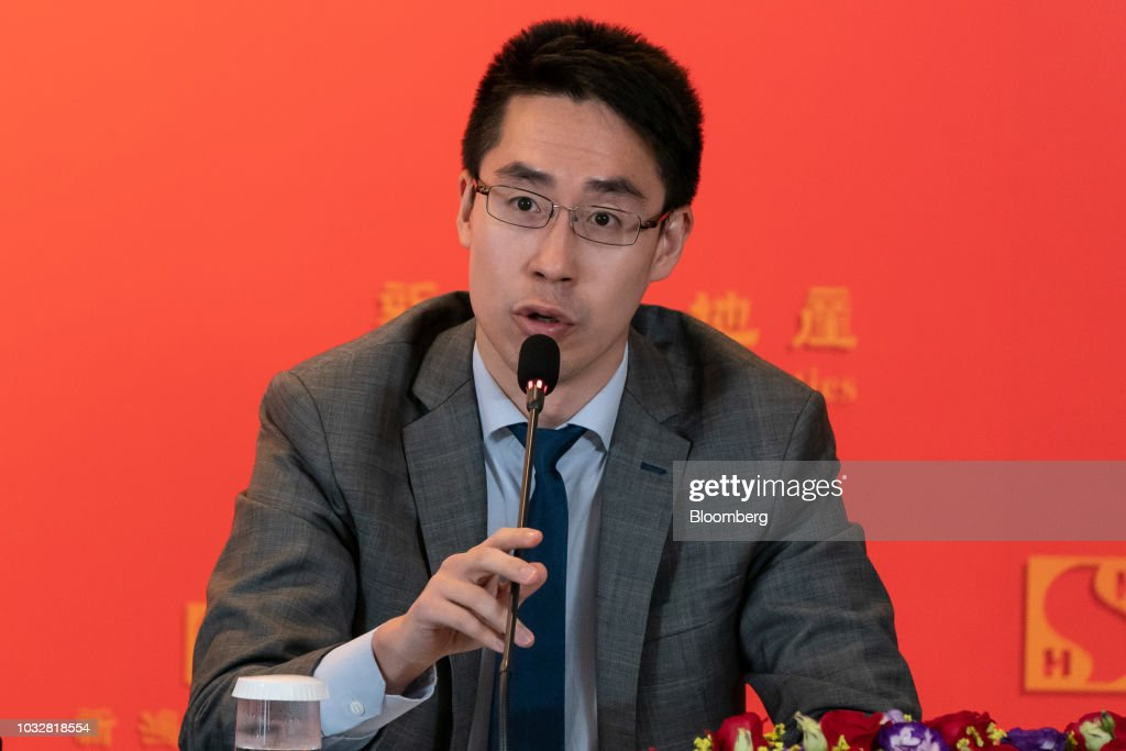 Adam Kwok, executive director of Sun Jung Kai Properties Ltd., speaks during a news conference in Hong Kong, China, on Thursday, Sept. 13, 2018. Sun Hung Kai, Hong Kong's biggest developer, reported a 17 percent rise in annual earnings as the city's residential market maintained its upward momentum. Photographer: Anthony Kwan/Bloomberg via Getty Images