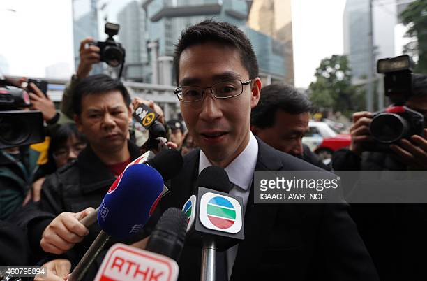 Adam Kwok son of Sun Hung Kai Properties cochairman Thomas Kwok leaves the court after his father was sentenced to five years jail on corruption...