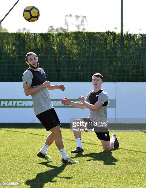 Adam Lallana and Ben Woodburn of Liverpool during a training session at Marbella Football Center on February 17 2018 in Marbella Spain