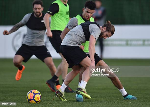 Adam Lallana and Dominic Solanke of Liverpool during a training session at the Marbella Football Center on February 15 2018 in Marbella Spain