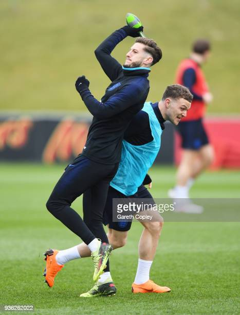 Adam Lallana and Kieran Trippier take part in a drill during an England training session on the eve of their international friendly against the...