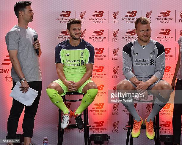 Adam Lallana and Simon Mignolet of Liverpool during the launch of the new third kit at the Facebook Village on July 28 2016 in Palo Alto California
