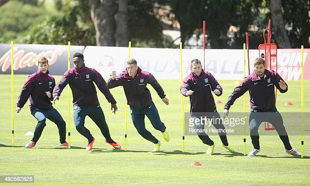 Adam Lallana Danny Welbeck Ross Barkley James Milner and Steven Gerrard in action during a training session at the England preWorld Cup Training Camp...