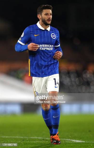 Adam Lallana of Brighton and Hove Albion during the Premier League match between Fulham and Brighton & Hove Albion at Craven Cottage on December 16,...