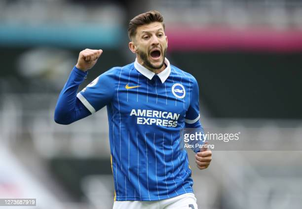 Adam Lallana of Brighton and Hove Albion reacts during the Premier League match between Newcastle United and Brighton & Hove Albion at St. James Park...
