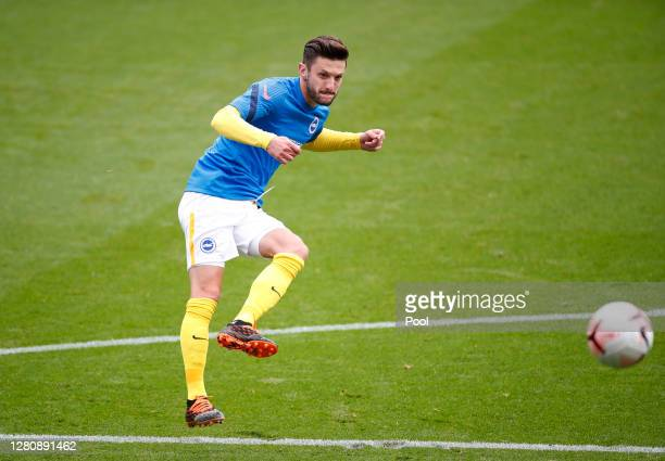 Adam Lallana of Brighton and Hove Albion warms up prior to during the Premier League match between Crystal Palace and Brighton Hove Albion at...