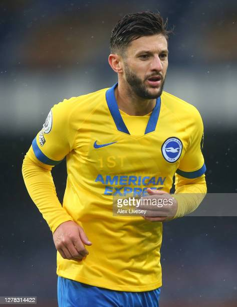 Adam Lallana of Brighton Hove Albion during the Premier League match between Everton and Brighton Hove Albion at Goodison Park on October 03 2020 in...