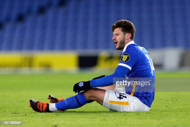 Adam Lallana of Brighton & Hove Albion looks dejected during the Premier League match between Brighton & Hove Albion and Aston Villa at American...