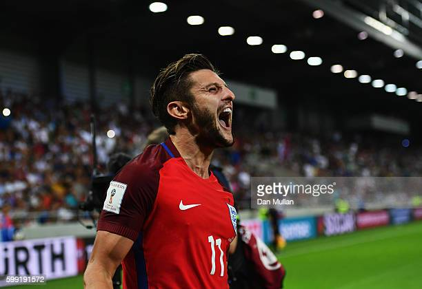 Adam Lallana of England as he scores their first goal during the 2018 FIFA World Cup Group F qualifying match between Slovakia and England at City...