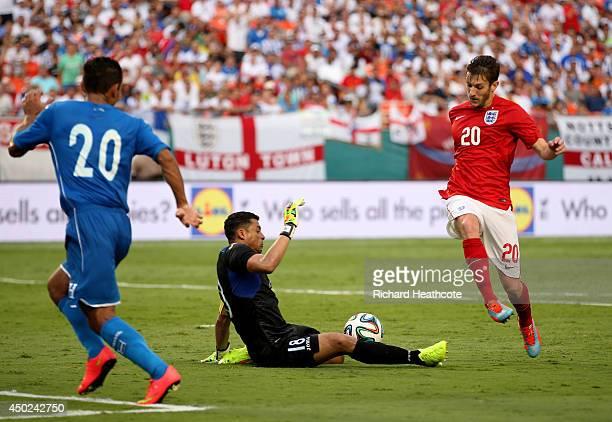 Adam Lallana of England has a shot blocked by Noel Valladares of Honduras during the International Friendly match between England and Honduras at the...