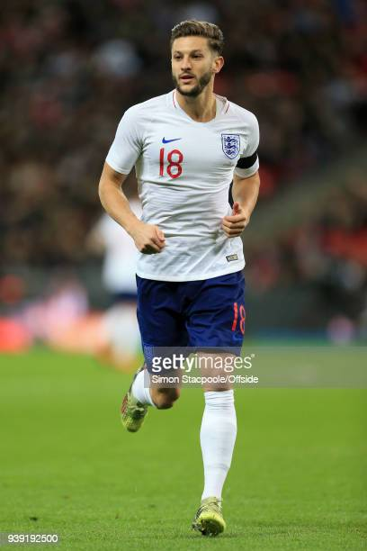 Adam Lallana of England in action during the international friendly match between England and Italy at Wembley Stadium on March 27 2018 in London...