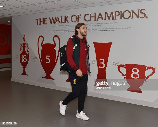 Adam Lallana of Liverpool arrives before The Emirates FA Cup Third Round match between Liverpool and Everton at Anfield on January 5 2018 in...