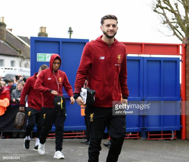 Adam Lallana of Liverpool arrives before the Premier League match between Crystal Palace and Liverpool at Selhurst Park on March 31 2018 in London...