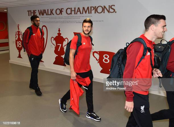 Adam Lallana of Liverpool arriving before the Premier League match between Liverpool FC and Brighton Hove Albion at Anfield on August 25 2018 in...