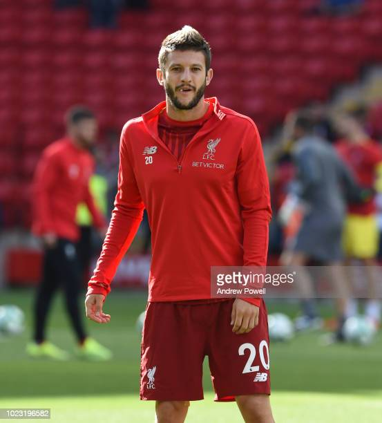 Adam Lallana of Liverpool before the Premier League match between Liverpool FC and Brighton Hove Albion at Anfield on August 25 2018 in Liverpool...