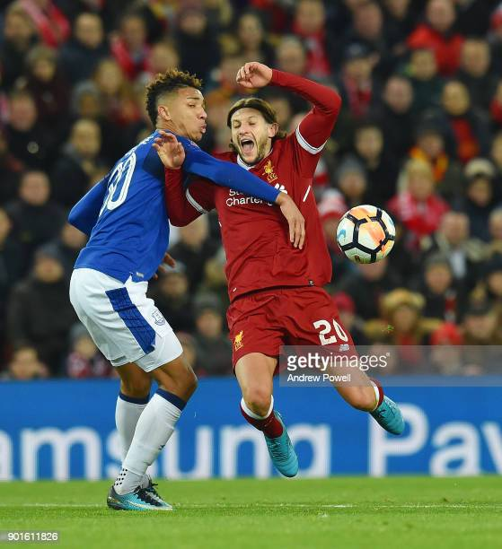 Adam Lallana of Liverpool brought down for a penalty by Mason Holgate of Everton during The Emirates FA Cup Third Round match between Liverpool and...