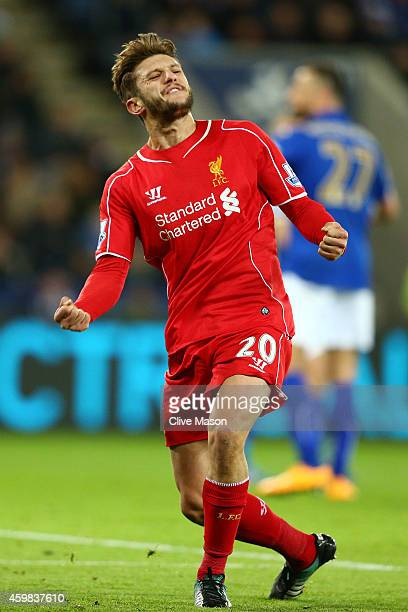 Adam Lallana of Liverpool celebrates after scoring a goal to level the scoes at 11 during the Barclays Premier League match between Leicester City...